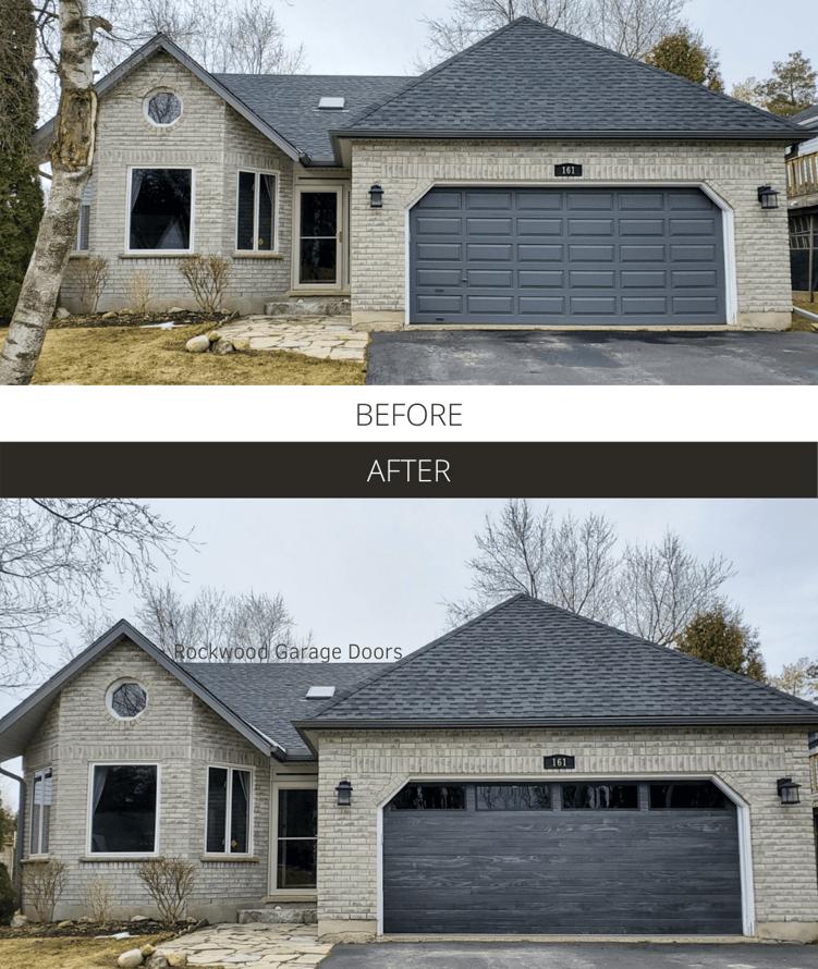 Before and After - Rockwood Garage Doors Carbon Oak Planks
