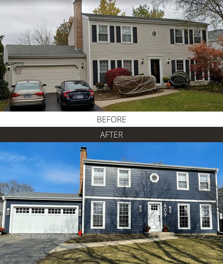 Before and After - Top Garage Door Pros Overlay Carriage House
