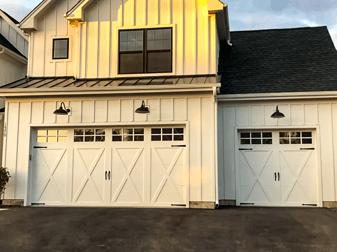 MF Solutions, Inc Garage Door Repair - Steel Overlay Carriage House Garage Door on Modern Farmhouse