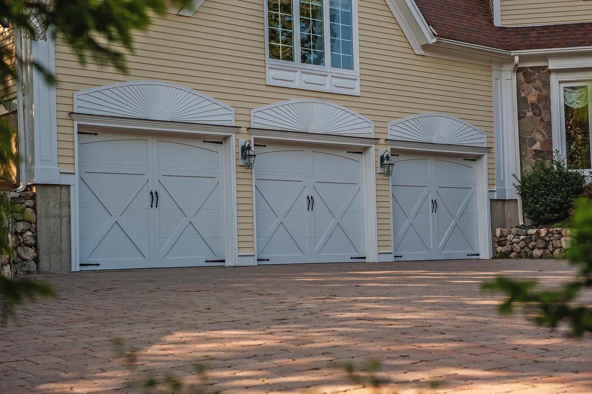 Carriage house overlay chi overhead doors for Garage door wood overlay